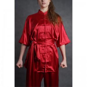 wushu KOMPLET oblek kratky rukav saten cervene