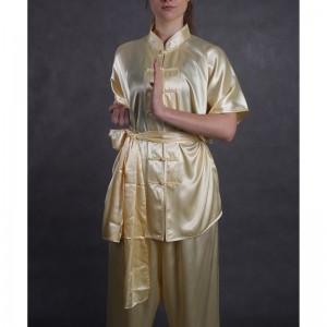 wushu KOMPLET oblek kratky rukav saten zlaty