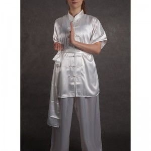 wushu KOMPLET oblek kratky rukav saten bile