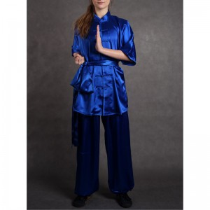 wushu KOMPLET oblek kratky rukav saten modre