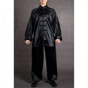 wushu KOMPLET oblek dlouhý rukáv saten černá